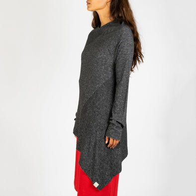 Grey assymetric long sleeve knit.