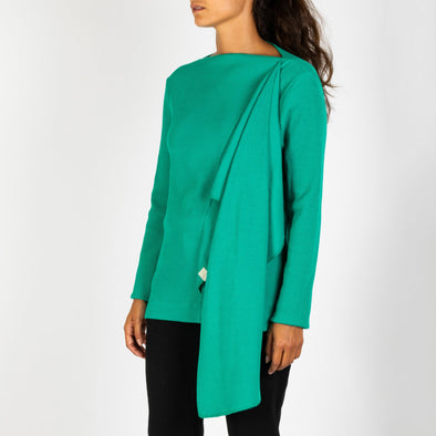 Green long sleeved knit with assymetrical detail.