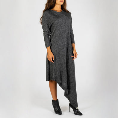 Grey assymetric long sleeved dress.