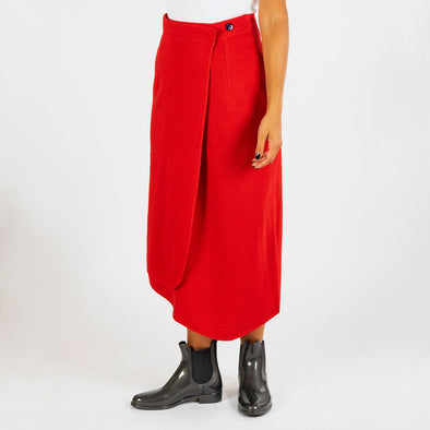Red assymetrical midi skirt.