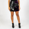 Colored faux fur skirt with black leather details.