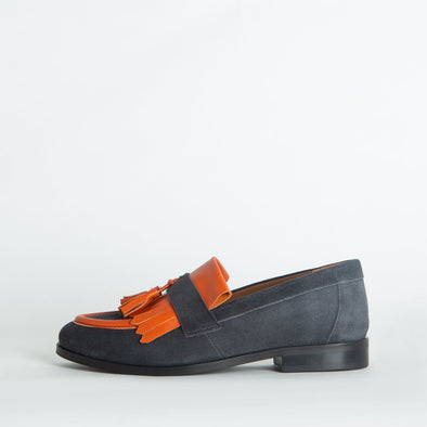 Grey suede classic loafers with pops of orange leather.