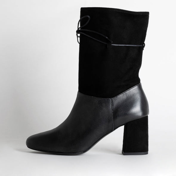 Black high heeled leather boots with suede leg.