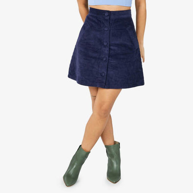 Button-up corduroy skirt with side pockets.