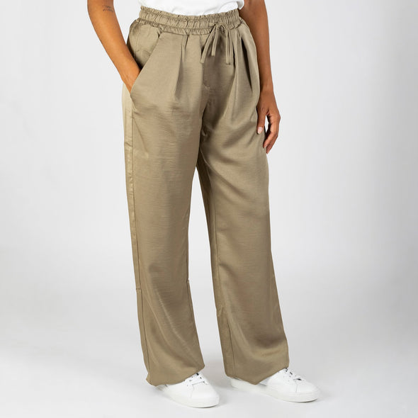 Pajama style pants featuring a comfortable elasticated waistband and a drawstring.