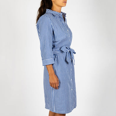 Shirt dress made of striped cotton with masculine details like a button-down collar and a revisited trench flap.