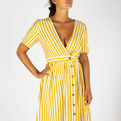 V-neck yellow striped dress.