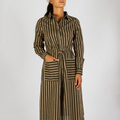 Mid length shirt dress with khaki stripes and na integrated buckle belt.