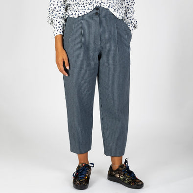 High-waisted trousers in a vertical striped canvas.