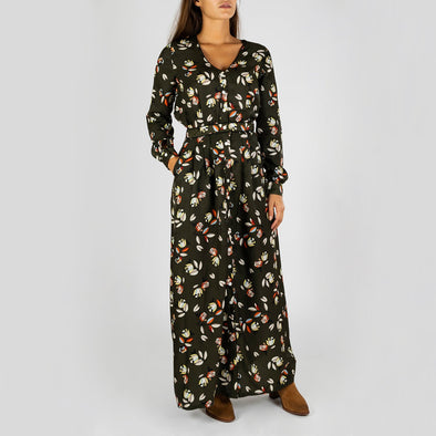 Long khaki dress with flower print, V-neck and long sleeves.