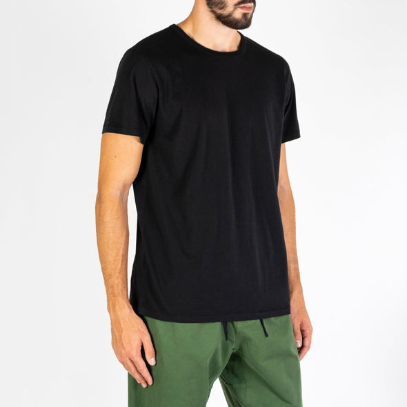 Regular fit black tee made from 100% super soft cotton.