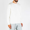 Regular fit white crewneck sweater made from heavy french terry cotton.