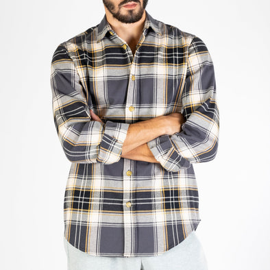 Plaid shirt, made from heavy flannel.