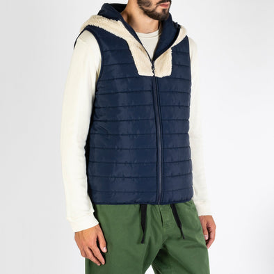 Reversible vest with a lined hoodie.