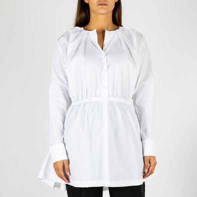Pure white long shirt with a round neck design and pleated details.