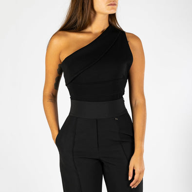 Black bodysuit in delicate mesh with asymmetrical neckline design.