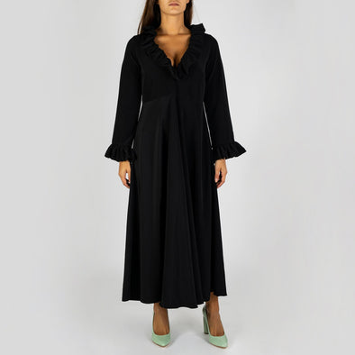Black midi silk dress with evasé cut and frill details.