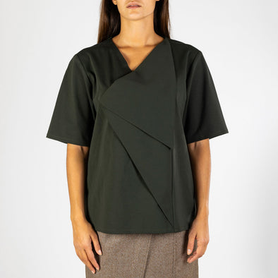 Loose t-shirt in army green with flap detailing at the front.
