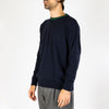Navy blue knitted sweater with a regular fit and neckline finished with a contrasting collar.