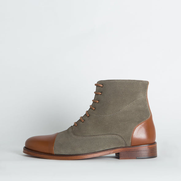Vintage slim lace-up boots in grey mesh textile and cognac leather panels.