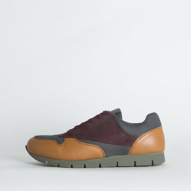 Classic-style runners in paneled burgundy suede, grey mesh and camel leather.