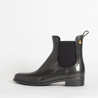 Chelsea boots in metalic grey non-toxic PVC.