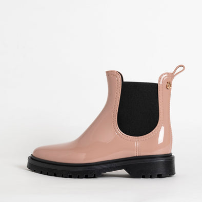 Chelsea boots in rose grey non-toxic PVC.