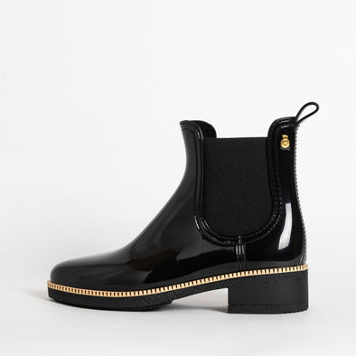 Chelsea boots in black non-toxic PVC.