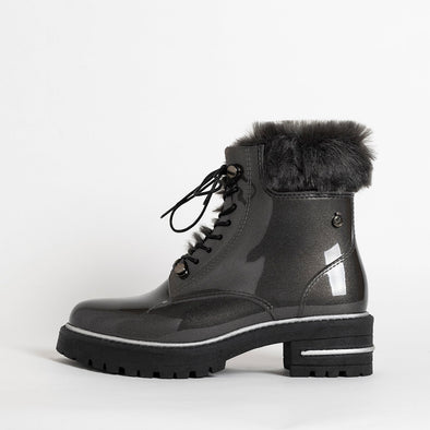Lace-up boots in metalic grey non-toxic PVC