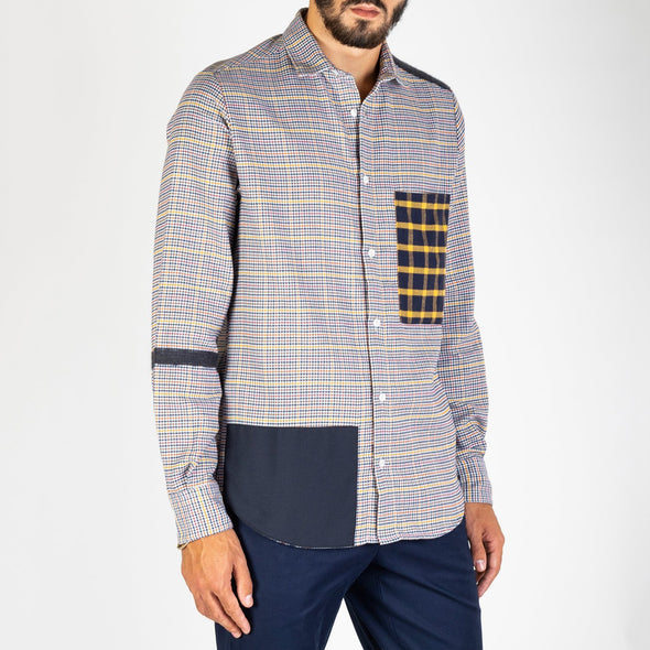 Multicolour wool patchwork shirt.