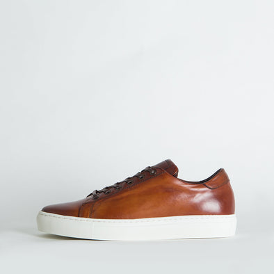 Low top sneakers in brown leather.