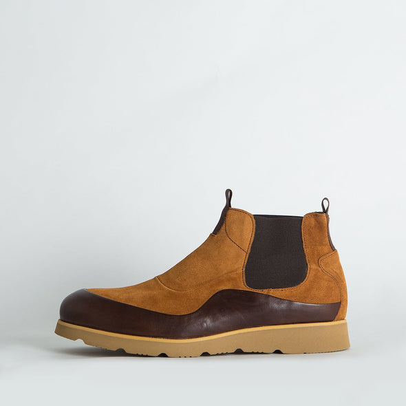 Chelsea boots in multiple shades of brown