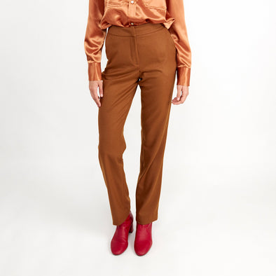 High waisted caramel trousers.