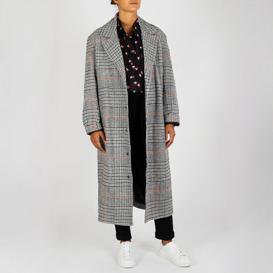 Grey long overcoat in a checked pattern.