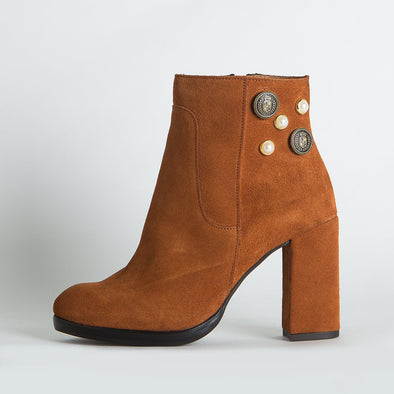 Brown suede heeled ankle boots with small details.