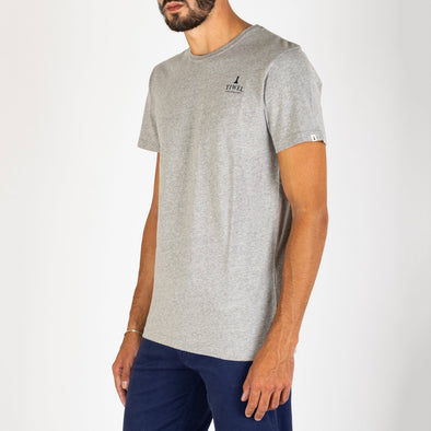 Grey t-shirt with chest logo print.