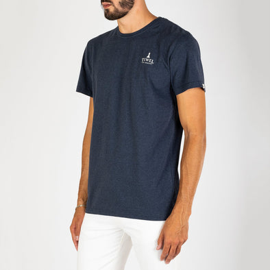Navy blue t-shirt with chest logo print.