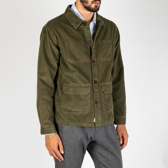 A casual shirt jacket with a classic collar and straight hem.