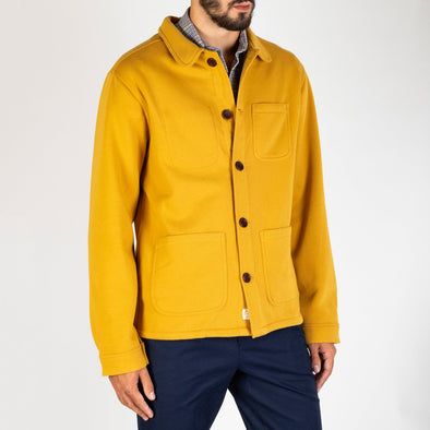 A casual shirt jacket with a rounded club collar and straight hem.