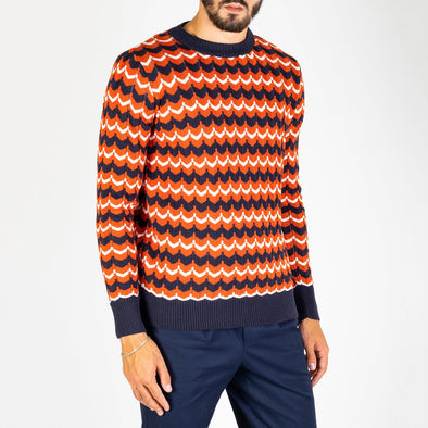 A vintage-inspired jacquard crewneck pullover made from a 2 ply wool mix yarn.