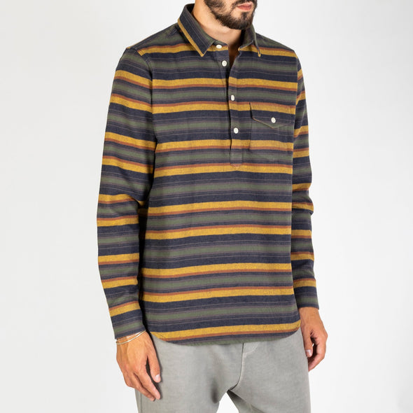 A long sleeved, pop-over shirt in a striped chambray fabric.