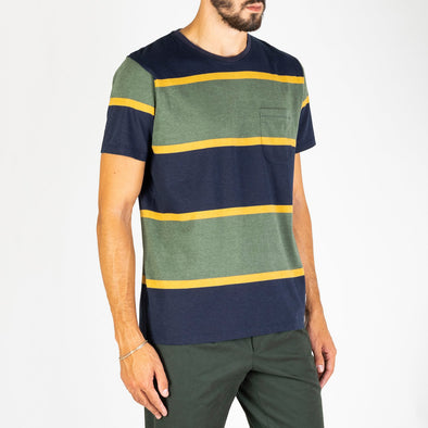 A short sleeved crew neck t-shirt with all printed stripe design.