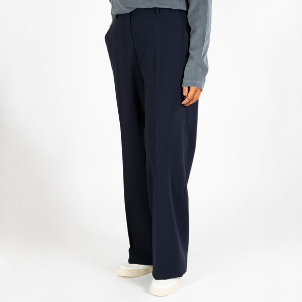Elegant viscose mix trousers in navy blue.