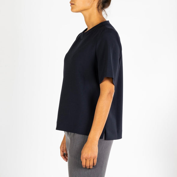 Tailored round neck top made from a luxurious mediumweight fabric.