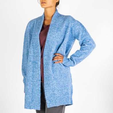 Light blue wrap around cardigan to keep you warm on those cold days.