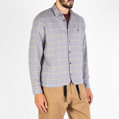 Brown, pink and yellow checkered shirt featuring one chest pocket.