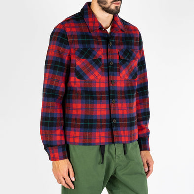 Raw red check jacket featuring two front side pockets.