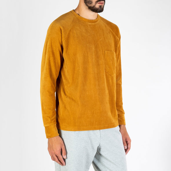 Honey-colored soft Japanese jersey with corduroy rib effect.