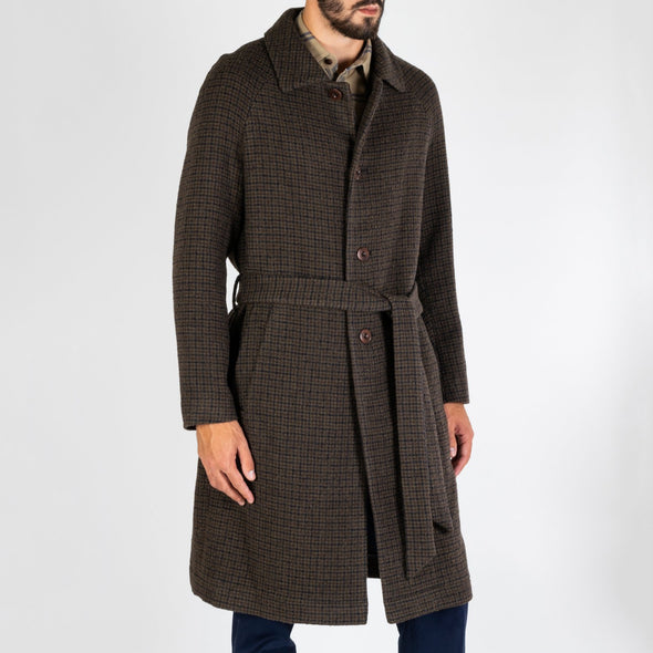 Retro tonal olive/black checked coat with a detachable belt.