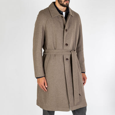 Neutral toned coat with a detachable belt.